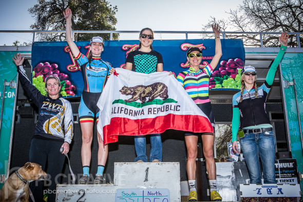 SoCal's Nauman on top of the women's 1-4 podium, flanked by a NorCal contingent. © Philip Beckman / PB Creative