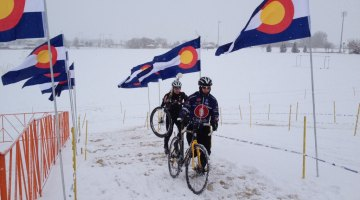 It was a little snowy for racers at Boulder this weekend. Photo courtesy of Brook Watts