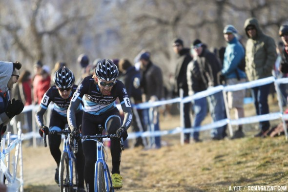 Jamey Driscoll leads teammate Allen Krughoff in their work to hold off Jonathan Page. © A. Yee / Cyclocross Magazine