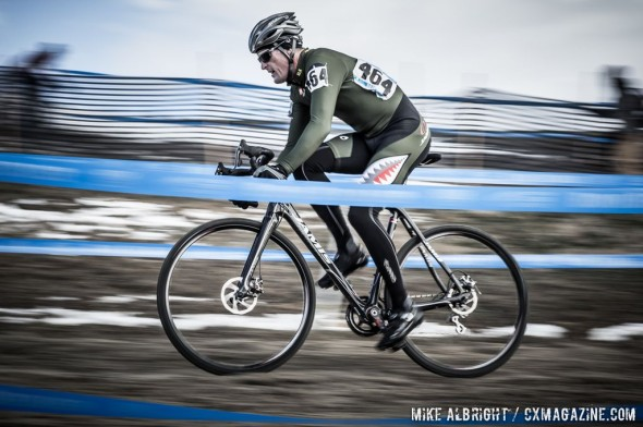 Darron Cheek (Cross Propz Racing) from Breckenridge, CO poses for a motion blur while racing Masters Men 45-49 at the 2014 National Championships. © Mike Albright