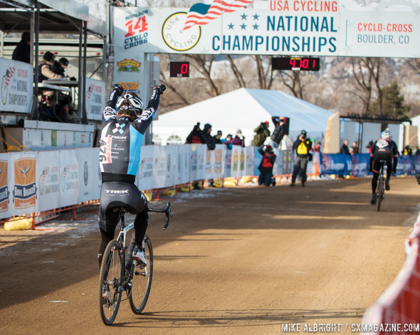 "Shocked to take the win, Faia crossed the line asking ""How did that happen?"" © Mike Albright"