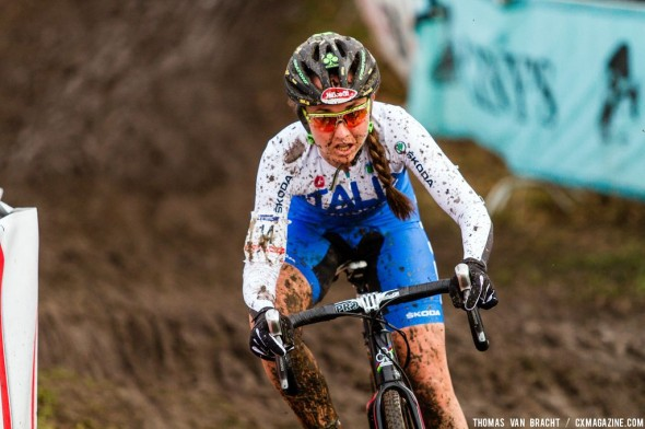 Lechner taking control of the battle for silver at UCI Cyclocross World Championships 2014 Elite Women. © Thomas van Bracht