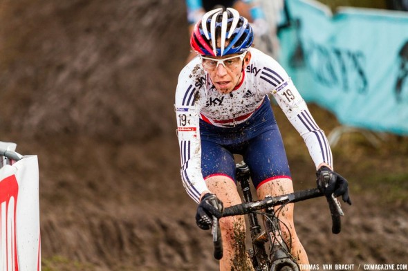 Wyman, game face on, going for bronze at UCI Cyclocross World Championships 2014 Elite Women. © Thomas van Bracht