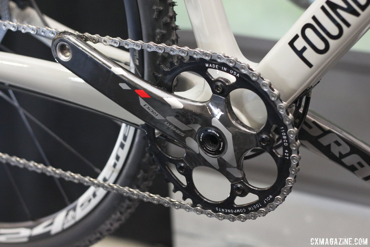 Foundry Cycles showed their 2014 Harrow B1 with a single Wolf Tooth wide-narrow chainring but emphasized it was not exactly to spec. We'll assume that means CX1 may be in the works. © Cyclocross Magazine