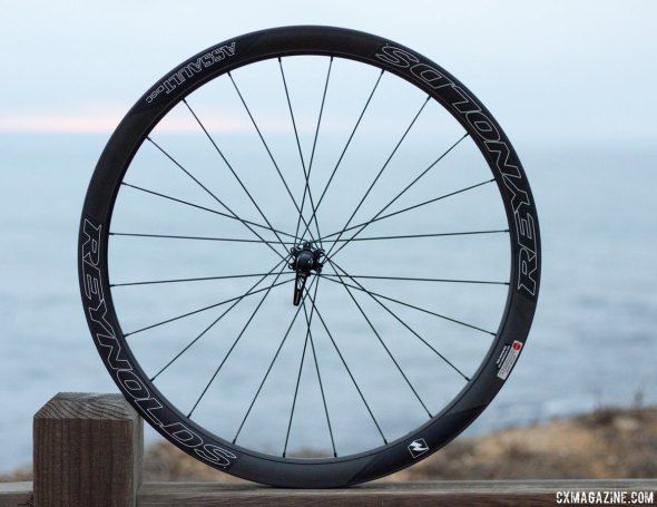 Reynolds Assault SLG Disc is one of three road disc wheels of interest to cyclocrossers. Winter Press Camp 2014. © Cyclocross Magazine