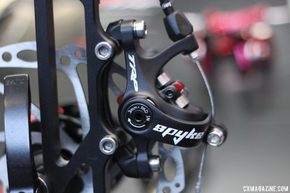 TRP Brakes brings the Spyre to Fat Bikes (and mtbs) in the form of the Spyke, with a different cable pull for V-brake levers - Frost Bike 2014.  © Cyclocross Magazine