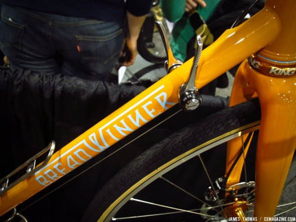 Down tube shifters provide front derailleur trim, and sand and mud proof. Breadwinner at NAHBS 2014. © James Thomas