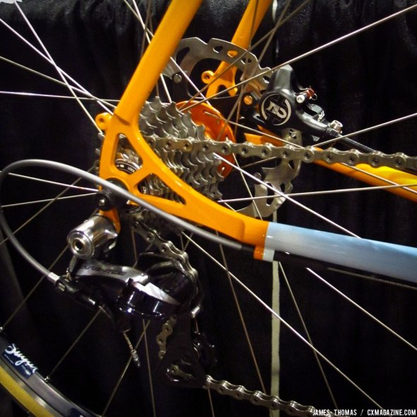 Fender/rack mounts, TRP Hylex hydraulic brakes and Dura-Ace 900 on the Breadwinner at NAHBS 2014. © James Thomas