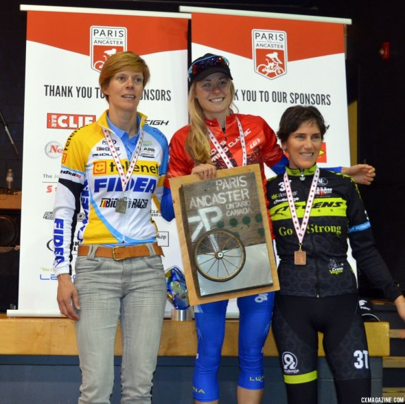 Maghalie Rochette tops the Paris to Ancaster podium, with Ellen Van Loy in second and Christine Vardaros in third. © Cyclocross Magazine