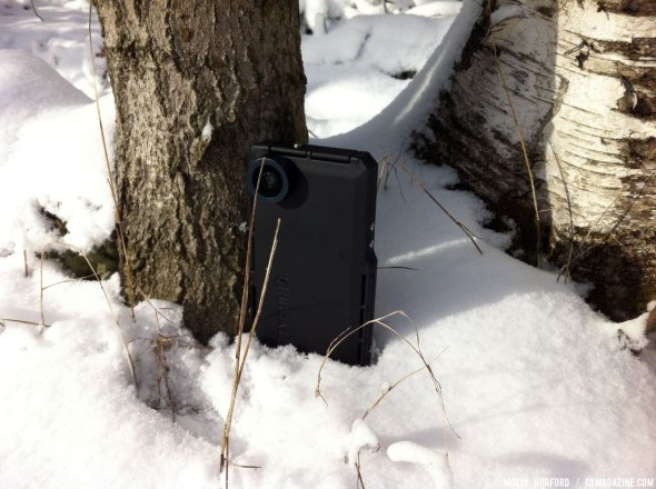 Hitcase in the wild: hanging out in sub-zero temperatures. © Cyclocross Magazine