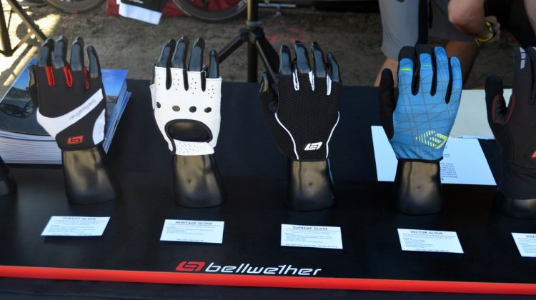 Bellwether showed off four potential cyclocross glove choices at Sea Otter 2014. © Cyclocross Magazine