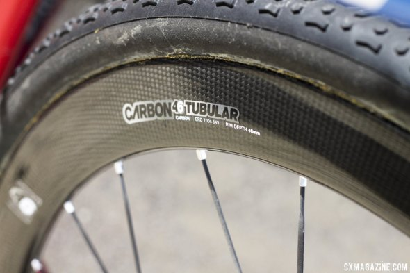 44mm deep, 23mm wide carbon tubulars. 1278g per pair for rim brake, 1435g for disc brake. © Cyclocross Magazine