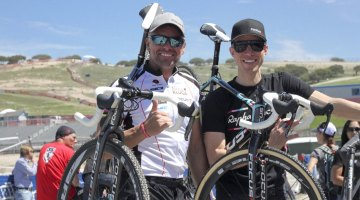 Kluge and Powers: Two proud members of the Focus Bikes' development team of the 2015 Mares cyclocross bike. © Cyclocross Magazine