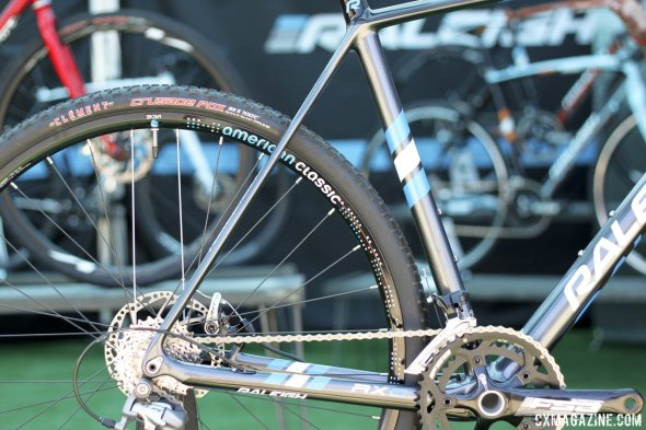 Raleigh's new 2015 carbon RXC frames feature thinner seatstays, rear thru axle and more bottom bracket drop. © Cyclocross Magazine