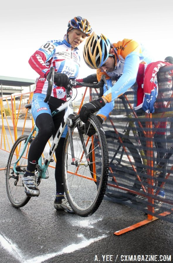 Danny Summerhill helps his mom get her own quality 'cross time at the 2010 Nationals in Bend. © Cyclocross Magazine