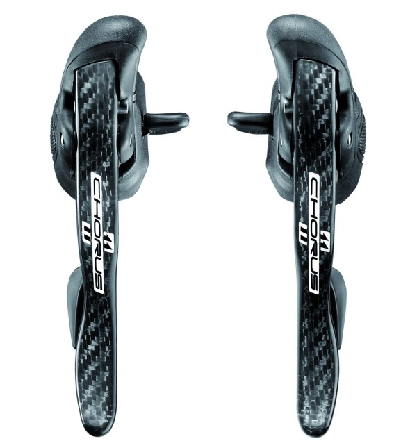 Carbon levers in teh Campagnolo Chorus group keep the profile sleek and the weight light.