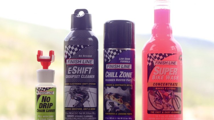 Finish Line new products: New: no-drop applicator, electronic drivetrain-safe lube, anti-seize lube, and bike wash concentrate. © Cyclocross Magazine