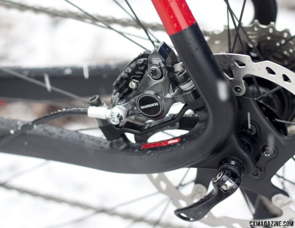 Niner BSB 9 RDO cyclocross bike is built for 140mm rotors, uses an adaptor for 160mm. © Cyclocross Magazine