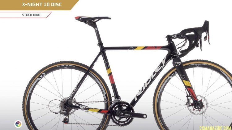 Belgian champion colors on the X-Night 10 Disc with SRAM Force CX1 and tubular wheels.
