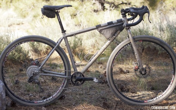Jesse Reeves finished third in the amateur 100-mile race on this Triton, one of the more interesting builds we saw at the Lost and Found. © Cyclocross Magazine