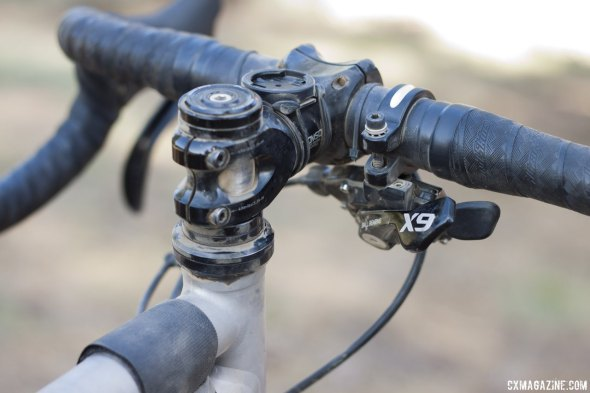 A seat collar clamp let Reeves put an X9 shifter to his flat bar. 2014 Lost and Found Ride. © Cyclocross Magazine