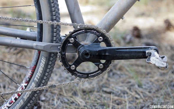 Jesse Reeves' used an ethirteen crankset with a 38t Race Face single ring with narrow/wide teeth. © Cyclocross Magazine