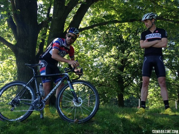 Pete Webber and Tim Johnson demonstrate proper positioning during their Cracking the Code clinic. © Cyclocross Magazine