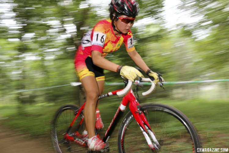 Jialing Han wowed the home crowd and fellow racers with a fifth place. © Cyclocross Magazine