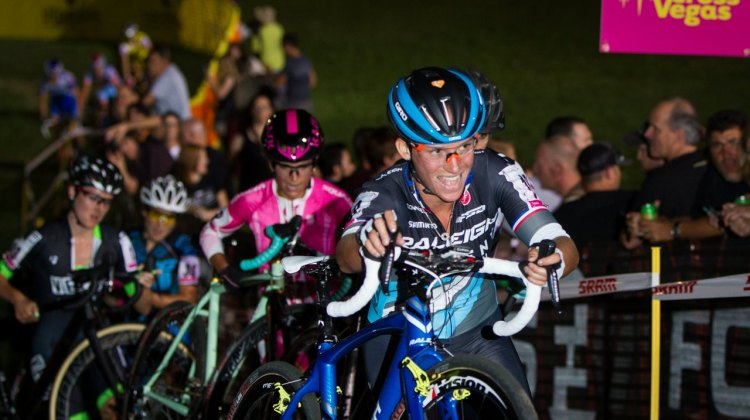 Caroline Mani eeks out a smile despite the pain and suffering of Cross Vegas 2014. © MikeAlbright.com / Cyclocross Magazine