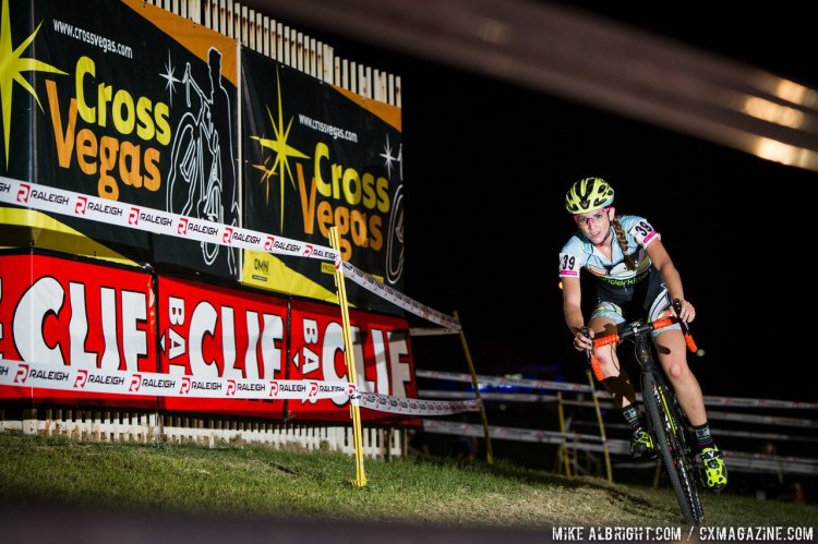 Caro Gomez Villafane showing off her new Vanderkitten colors at Cross Vegas 2014. © MikeAlbright.com / Cyclocross Magazine