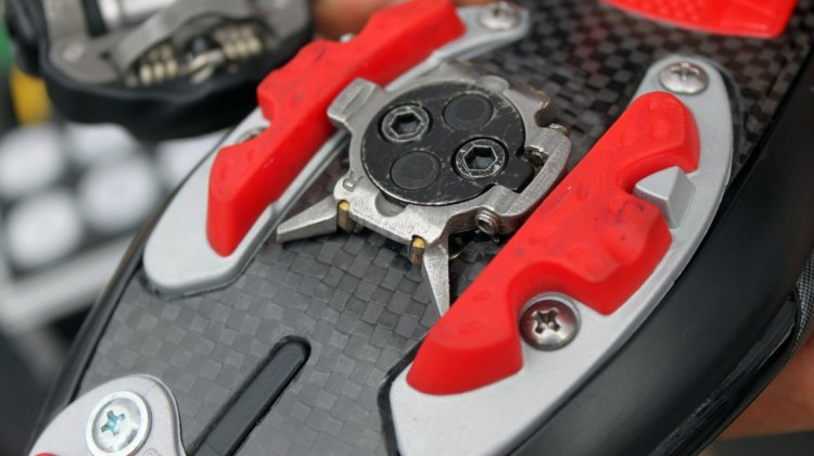 The new Speedplay Syzr cleats have bee redesigned with four visible bearings to assist in cleat play. © Andrew Reimann