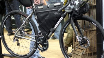 Moots redesigned an adventure bike called the Routt 45, shown here with Porcelain Rocket bags. © Cyclocross Magazine