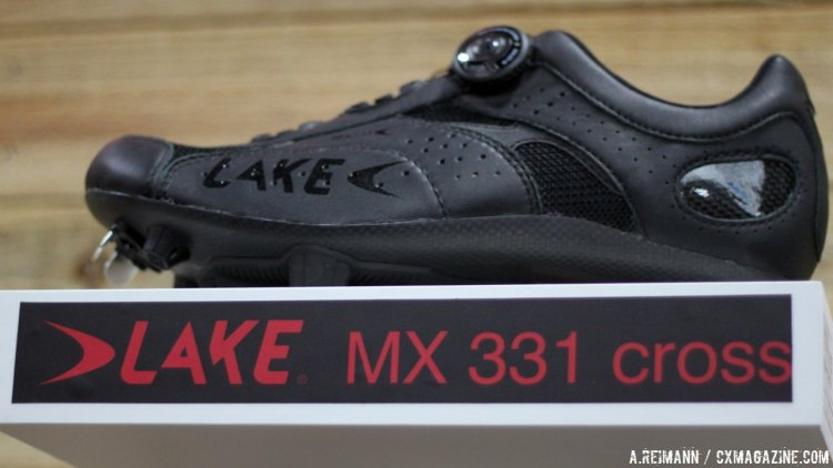 Lake Shoes shows off their clean black cyclocross MX331 shoes. © Cyclocross Magazine