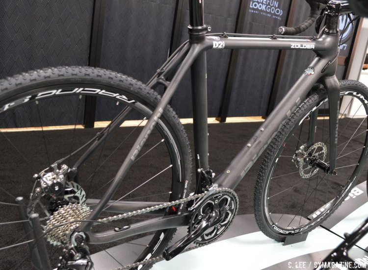 A stealthy, matte finish and subued logos on the Biachi Zolder. Interbike 2014 © Cyclocross Magazine