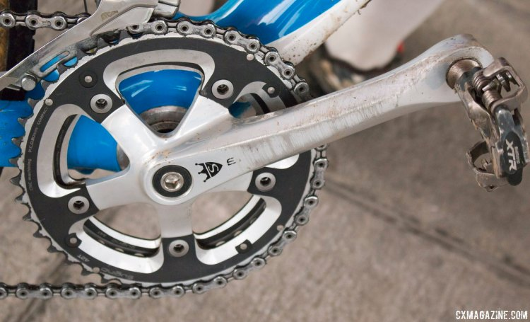 Miyauchi's Sugino Mighty Tour 2000 square taper cranks and Sugino 110 BCD 34/42 chainrings are old school, but are classy and do the job. © Cyclocross Magazine