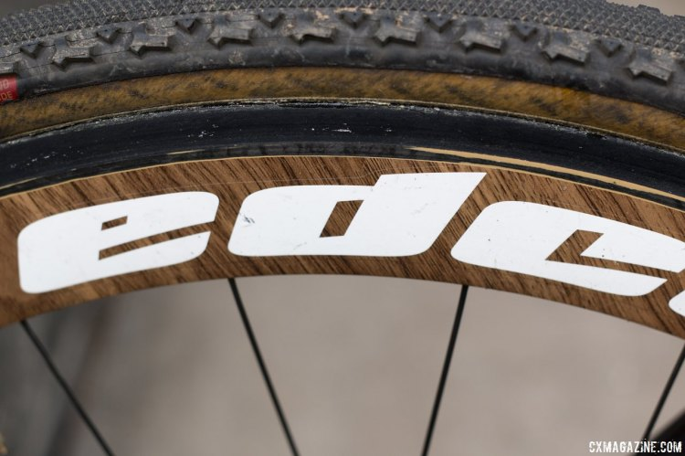 The wood finish on Van Loy's Edco rear wheel is a  departure from the norm. © Cyclocross Magazine