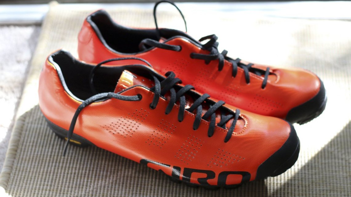 Bright orange, but retail will be black or silver - New 2015 Giro Empire VR90 off-road cycling shoe. © Cyclocross Magazine