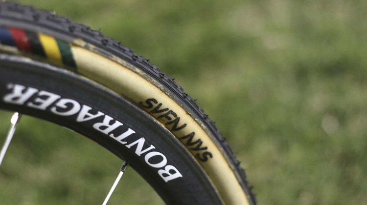 Dughast tires with Sven Nys's name on them clearly identify the owner. © Cyclocross Magazine