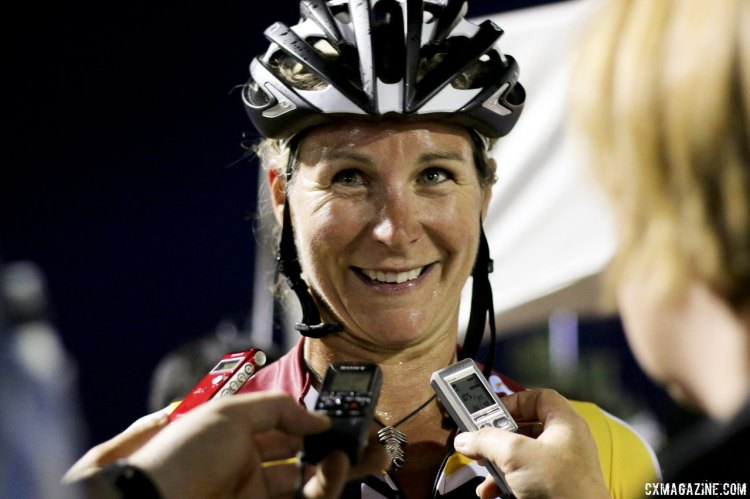 Meredith Miller is all smiles with her first win as a team owner and married woman. © Cyclocross Magazine