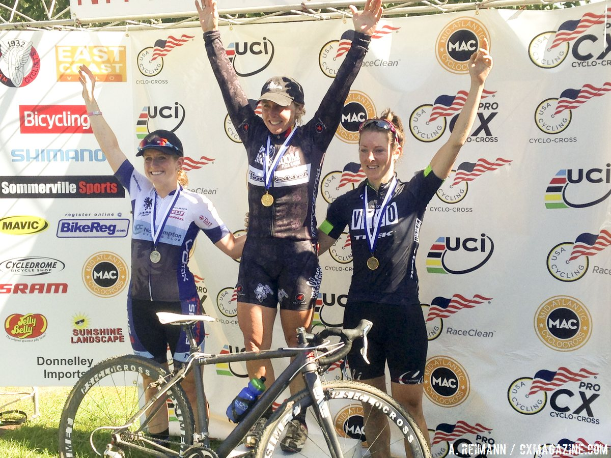 File photo of Gabby Durrin on the podium at 2014 Nittany Lion Cyclocross Day 2. © Cyclocross Magazine