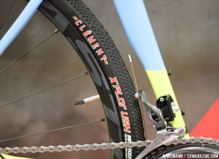The Norco Search XR comes stock with Easton EA70 XCT tubeless wheels and Clement X'Plor USH 35c, although the frame can handle up to 40c tires. © Cyclocross Magazine.