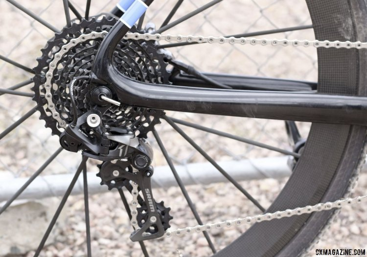 Storck built his own CX1 rear deraileur with a XX1 cage to handle a wide-range cassette with a SRAM Force CX1 shifter. © Cyclocross Magazine