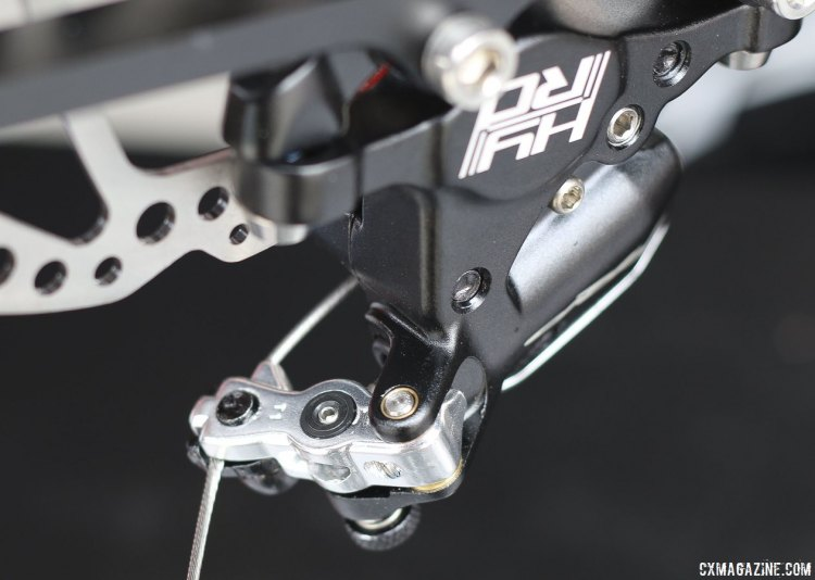 TRP Brakes added a tiny set screw to the HY/RD brake opposite the lock knob to prevent a user from threading the push rod in or out. © Cyclocross Magazine