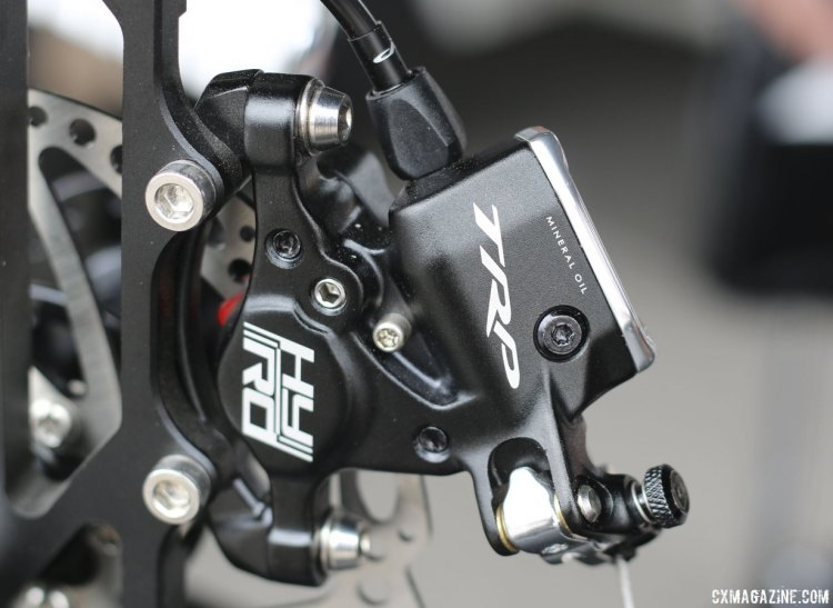 "TRP Brakes updated the HY/RD cable-pull hydraulic disc brake. New models have ""Mineral Oil"" printed on the outside of the brake. Older ones had it on the inside. © Cyclocross Magazine"