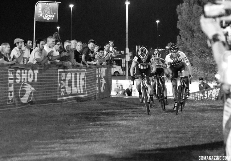 Compton led up the final rise but got outkicked by Miller and Nash. © Cyclocross Magazine