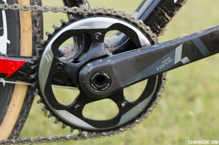 Sram's CX1 group features a 1x11 drivetrain with wide, thin chainring teeth and cutaways for mud shedding.  © Cyclocross Magazine