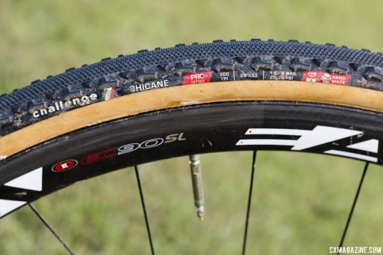 Challenge Chicane tires offer a fast center tread with shoulder knobs for cornering grip. © Cyclocross Magazine