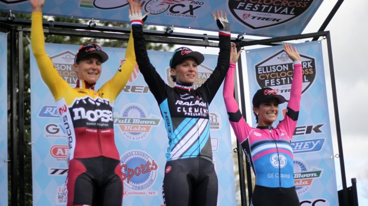 Courtney McFadden's first UCI podium, shown here on the right. © Andrew Reimann