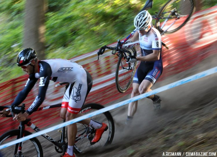 Danny Summerhill and Stephen Hyde descended the Rochester section open only to the elite races. © Andrew Reimann