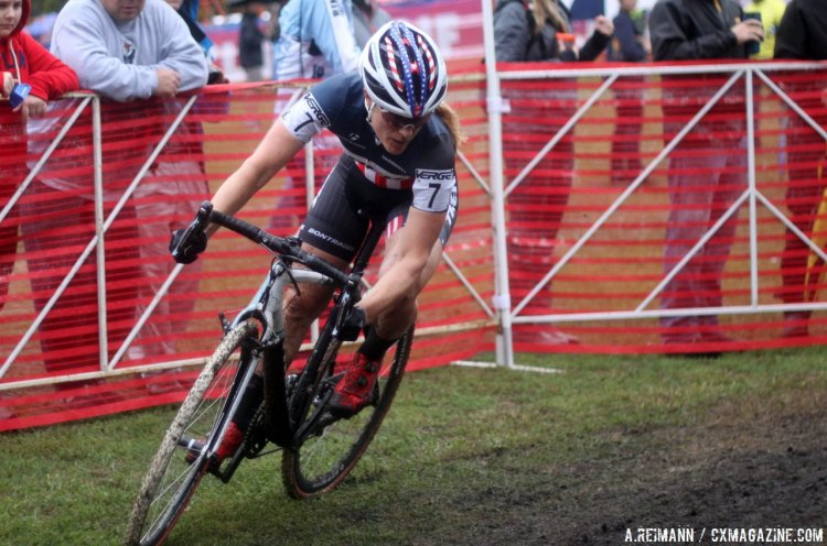 Katie Compton found her legs early and showed good form all race. © Andrew Reimann